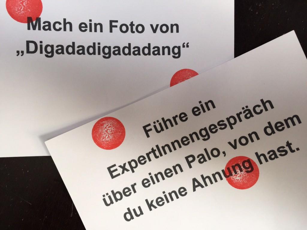 Postkarten mit Handlungsanweisungen