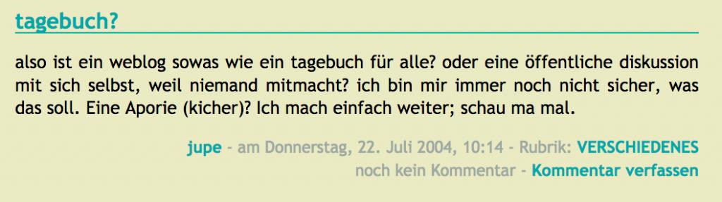 Screenshot eines alten Blogbeitrags von mir über die Frage, was Bloggen eigentlich ist
