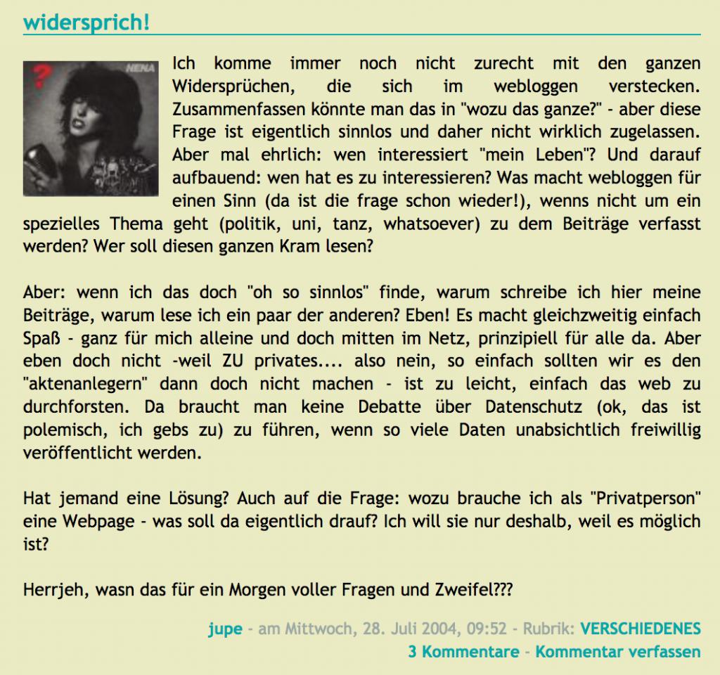 Screenshot eines alten Blogbeitrags von mir mit Fragen über das Bloggen - ob das überhaupt Sinn macht.