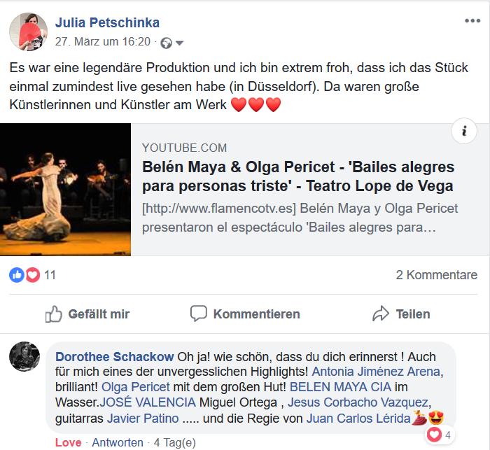 """Screenshot des Facebook-Postings über das Flamenco Stück """"Bailes Alegres para personas tristes"""""""