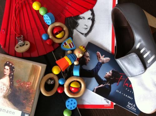 Foto von meinen Flamencoutensilien für das Festival in Düsseldorf