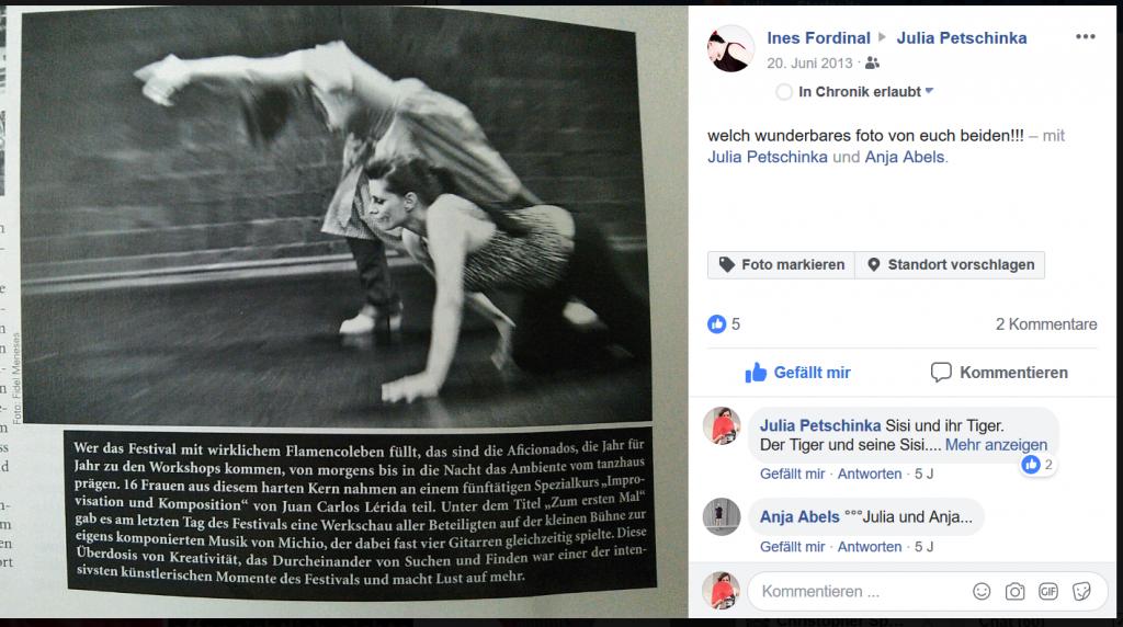 Screenshot des Facebookbeitrags - Werkschau Flamenco beim Festival in Düsseldorf