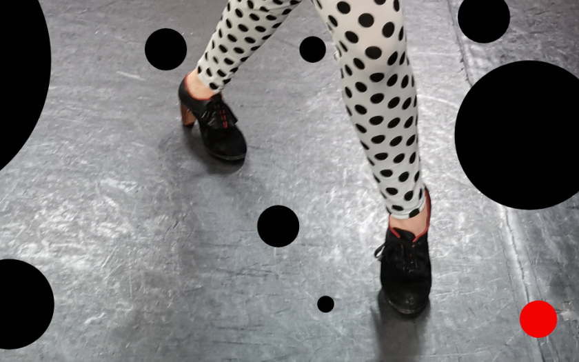 Fotocollage Tanzbein und Tupfen für Flamencokurse von Julia Petschinka