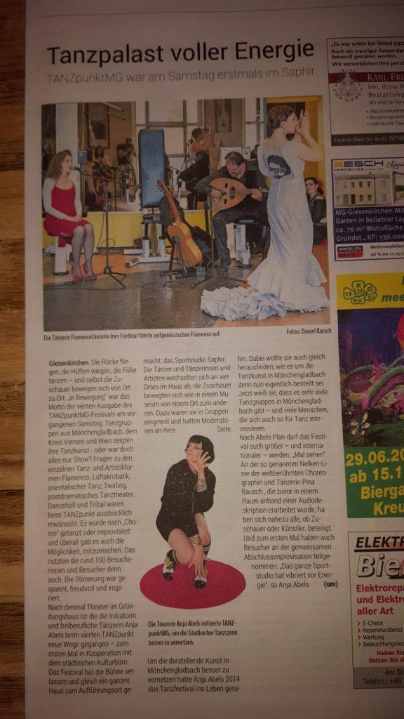 Zeitungsbericht über das Festival TANZpunktMG in Mönchengladbach